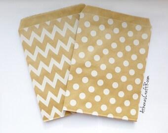 Flat Kraft Paper Bags, Polka Dot Paper Bags, Chevron Favor Bags, Wedding Favors, Baby Shower Favors