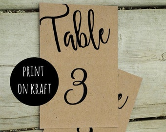 Rustic wedding table numbers printable Country table numbers Wedding table numbers Kraft table numbers Table cards Rustic numbers K67