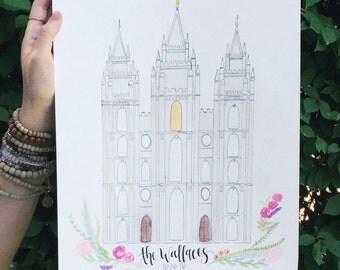 Handmade Watercolor Salt Lake City Temple Painting