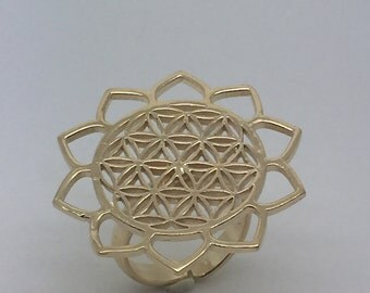 gold plated flower of life ring,flower of life jewelry,gold flower of life,Round flower of life ring,gold plated ring,boho ring,gypsy ring