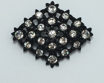 Black Brooch Pin with White Rhinestones 9733