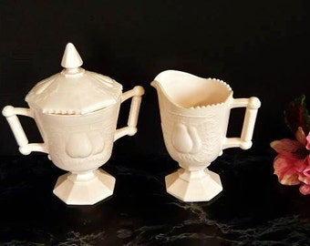 Baltimore Pear Jeannette Pink Milk Glass Sugar & Creamer