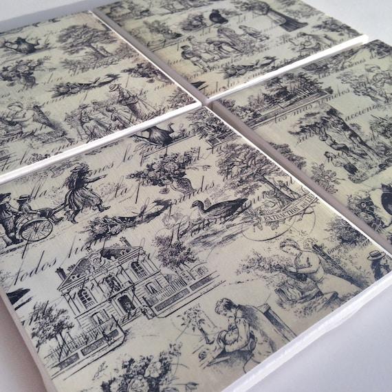 Sale ceramic tile coasters toile de jouy drink coaster - Toile de jouy decoration ...