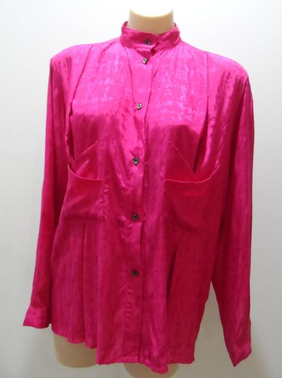 JONATHAN ELLIOT Australian designer 1970's fuchsia long sleeve shirt with pocket detail - Size 12 - Vintage