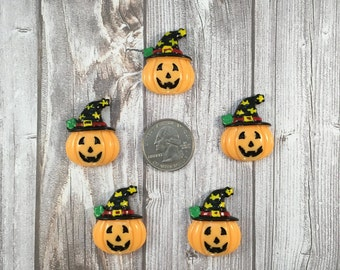 Pumpkin cabochons - Halloween pumpkin - Witch hat pumpkin - 5pc lot - Jack-o-lantern - Hair bow DIY - Halloween crafts - Spooky resins