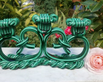 french Vintage Candlestick Triple twisted Green Majolica Art Deco - candlestick triple in barbotine twisted Green Art Deco