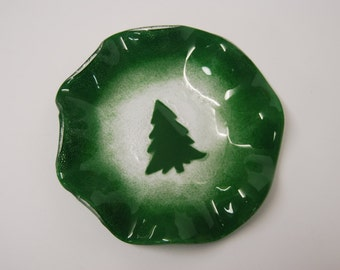 Art Glass dish with a green Christmas Design