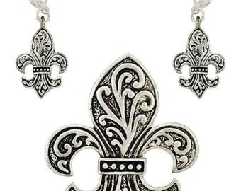 Silver Filigree Fleur De Lis Brooch / Pendant & Earring Set