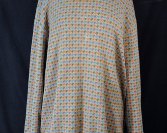Vintage Oversized Multi Colored Houndstooth Sweater 90s Grunge Cosby Retro