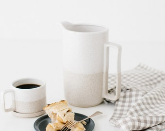 Linen Tea Towel in Sand Natural Gingham