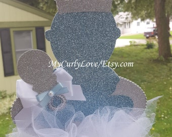 Silver Prince Baby Shower Centerpiece/Royal Silver Baby Shower Centerpiece/Silver Prince Baby Shower Decor/Silver Royal Baby Shower Decor
