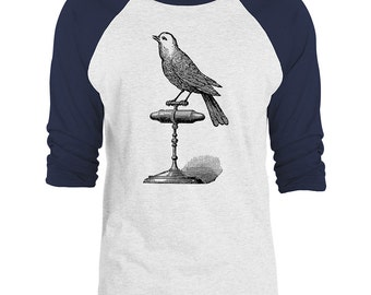 Mintage Singing Bird 3/4-Sleeve Raglan Baseball T-Shirt