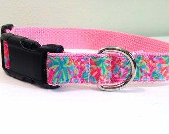 Dog collar, preppy dog collar, tropical dog collar, vera dog collar,  pink dog collar, medium dog collar, island dog collar