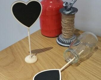 Natural Mini Chalkboard on Post - Heart shape