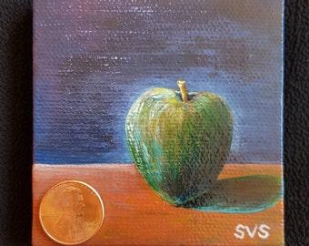 Green Apple (3''x3'' canvas, acrylic paints)