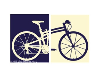 Navy Blue and Cream Bicycle Silhouette Prints- Set of 2 Framed or Unframed - Multiple Sizes Available