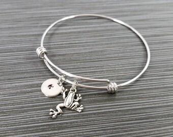 Frog Bangle - Frog Charm Bracelet - Expandable Bangle - Charm Bangle - Frog Bracelet - Initial Bracelet - Personalized Bracelet - Reptile
