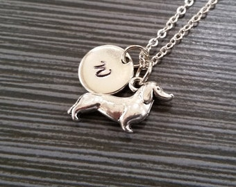 Silver Dachshund Necklace - Puppy Charm Necklace - Personalized Necklace - Custom Gift - Initial Necklace - Weiner Dog Necklace