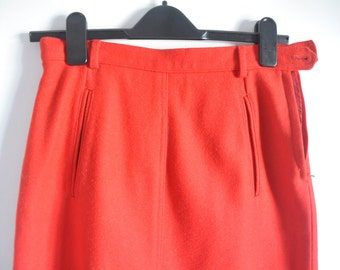 Pure Wool Red A-Line Skirt - Fully Lined UK10 US8