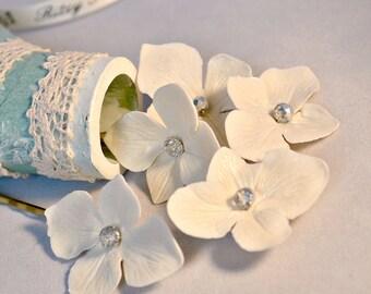 Bridal hair pins, Small hair flowers Set of 6, Summer wedding headpiece, White bridesmaid hair accessories, Ivory hydrangea hair pins