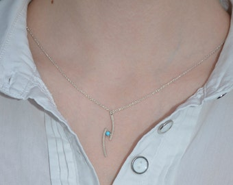 Turquoise Necklace // Tiny Necklace Silver - Pendant Necklace - Turquoise Drop Necklace - Drop Charm Necklace - Dainty Necklace