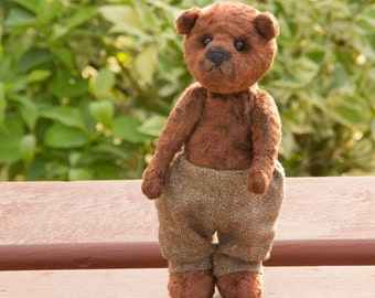 Teddy bear Leo 7.5 inches (19 cm) OOAK,  brown plush