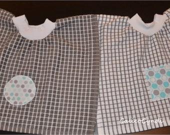 Baby/Toddler Tea Towel Bibs with Square & Circle Applique, Baby Bibs, Toddler Bibs