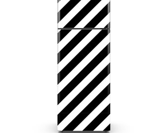 Monochrome Geometric Fridge Decal - Thick Diagonal Lines - Self Adhesive Fridge Wrap