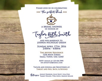 Custom Coffee-Themed Bridal Shower Invitation