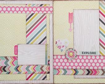 Explore Layout - Pre-cut 2-Page 12x12 Scrapbook Layout DIY Kit