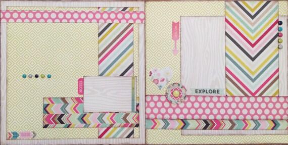 Explore Layout Pre Cut 2 Page 12x12 Scrapbook Layout Diy Kit