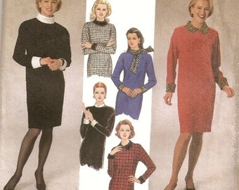 Woman's Long Sleeve Dress Sewing Pattern UNCUT Simplicity 7755 Miss Size 12-16 Easy-to-Sew