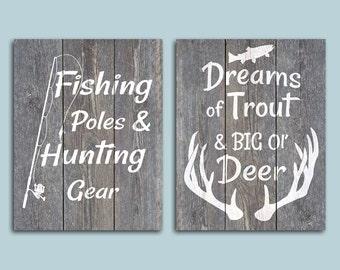 Fishing Poles & Hunting Gear Dreams Of Trout And Big Ol' Deer Set of 2 8x10 Digital Downloads - Printable Faux Wood Plank Nursery Boys Room
