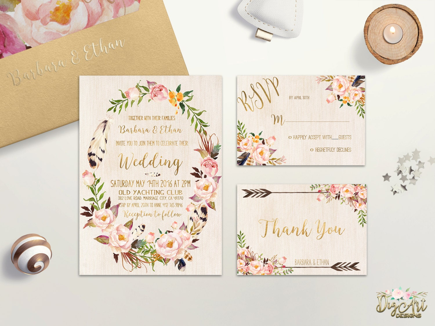 Floral Wedding Invitation Printable Bohemian Wedding