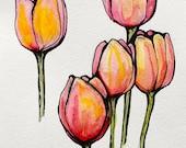 6x8 Watercolor Tulips Original