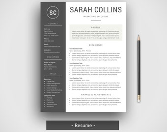 modern resume template cover letter cv template simple resume template professional printable - Mac Resume Templates