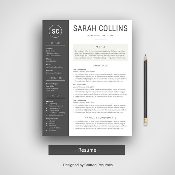 Simple Basic Resume Template Download: Modern Resume Template Cover Letter CV Template Simple