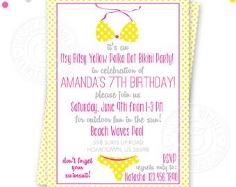 Yellow Polka Dot Bikini Printable Birthday Invitation, Custom Yellow Bikini Invitation, Printable Invitation, Swimsuit Birthday Invitation