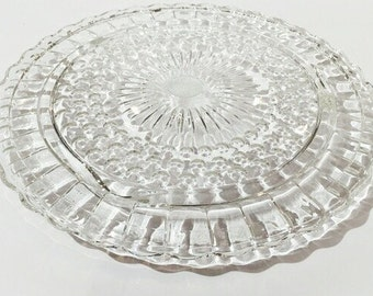 Footed Glass Cake Plate, Glass Cake Plate, Wedding Cake Plate, Footed Serving Plate, Scalloped Edge Cake Plate