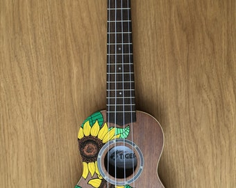 Hand-Painted Ukulele - Natural Sunflowers