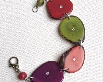 Multicolor beaded bracelet - tagua nut bracelet -