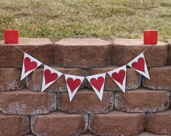 Heart Garland Heart Banner Red Glitter Heart Garland Red Glitter Heart Banner Valentines Day Banner Valentines Day Garland Wedding Banner