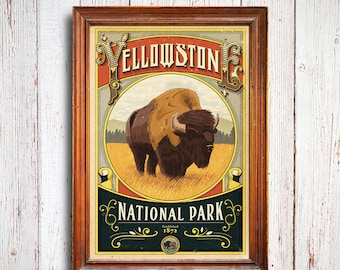 Yellowstone Poster, Yellowstone National Park print, Bison Poster, Vintage Style wild Poster, buffalo poster, national park quest poster,