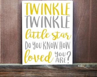 Nursery Wall Art - Twinkle Twinkle Little Star Hand Painted Canvas - Nursery Decor - Baby Shower Gift - Baby Gift - Baby Boy - Baby Girl
