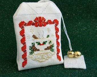 Christmas Tea Bag Sachet cross stitch - pattern only