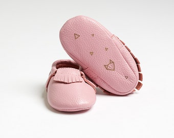 "Genuine Baby Leather Moccasins Pink ""Nuna"" - featuring geometric fox design"