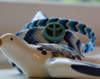 Blue Chevron Ombre Peace Woven Frienship Bracelet