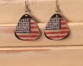 American flag vinyl record earrings