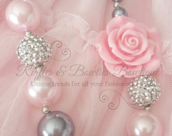 Silver & Pink Rose Bubble Gum Necklace, Kids Jewelery, Bubble Gum Jewelery, Silver, Pink, Rose, Glitz, Glam, Cake Smash, Photo Prop,