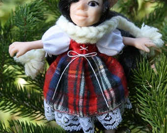 Cotton and polymer elf doll with ankle bells - christmas elf gnome leprechaun
